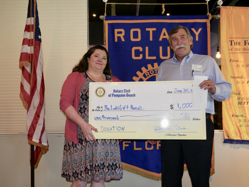 The Lord's Gift House receives a donation from our Rotary Club July 2017