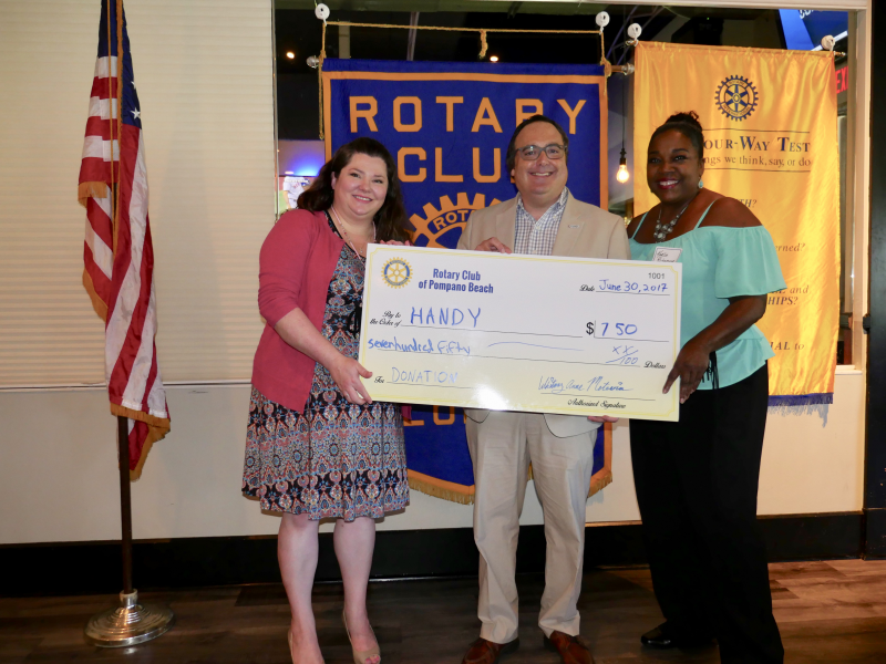 Handy receives a donation from our Rotary Club July 2017