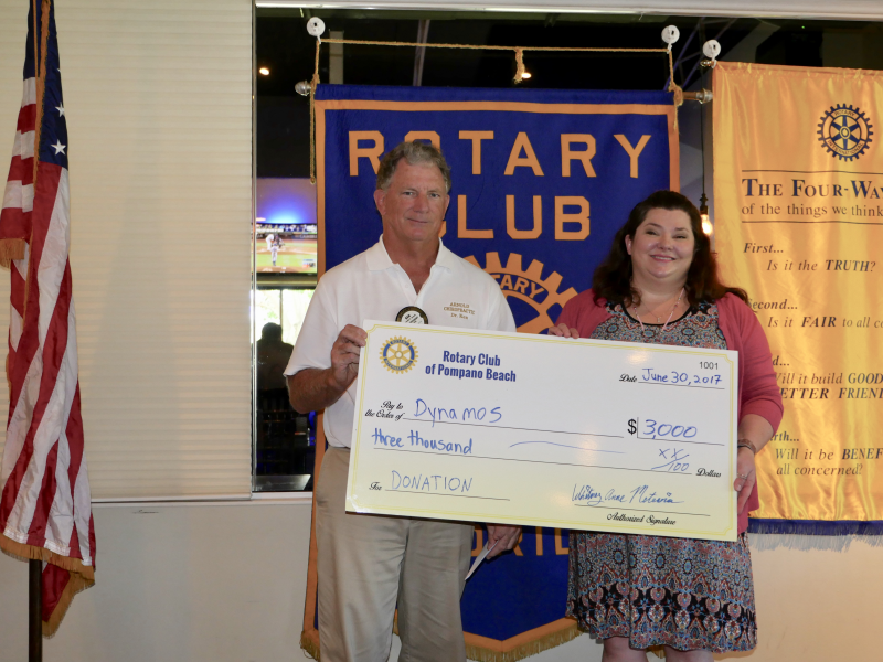 Dynamos receives a donation from our Rotary Club July 2017