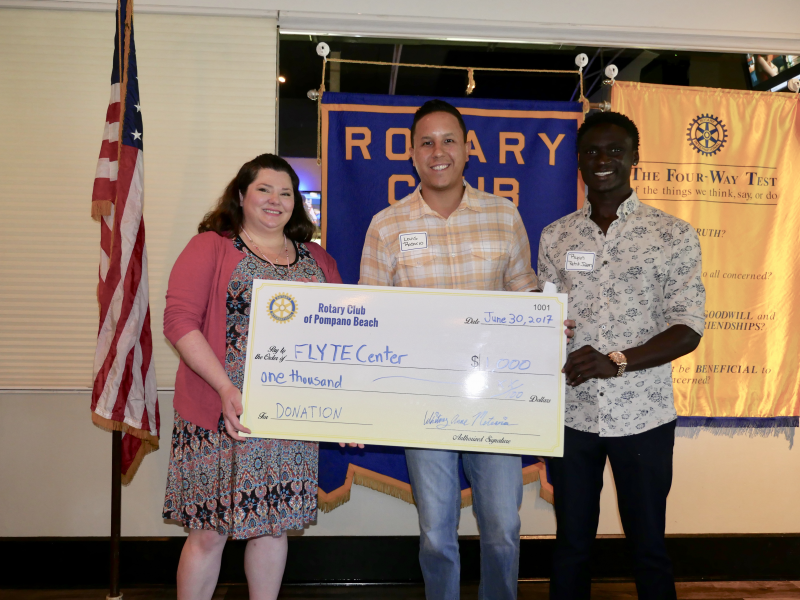 Flyte Center receives a donation from our Rotary Club July 2017