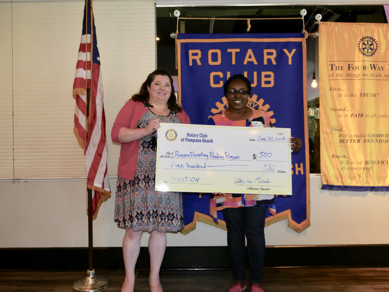 Pompano Beach Elementary Reading Program receives a donation from our Rotary Club July 2017