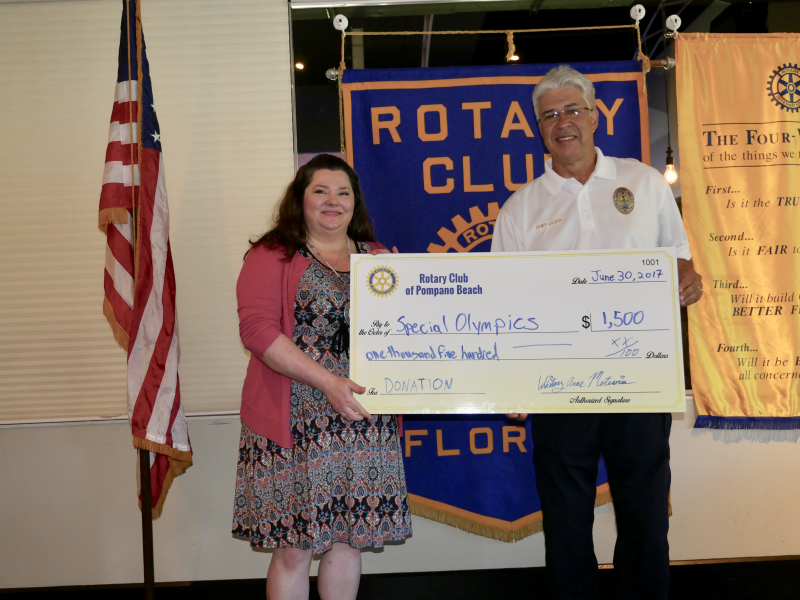 Special Olympics receives a donation from our Rotary Club July 2017